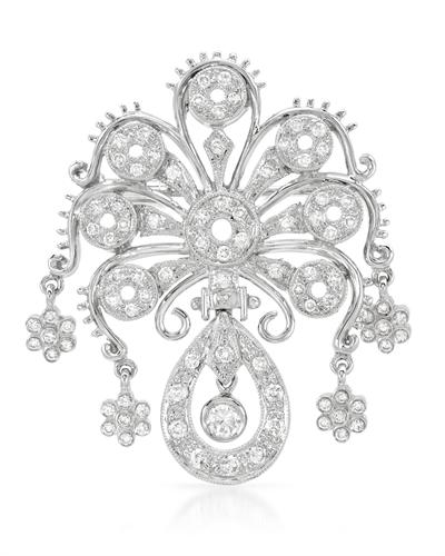 Genuine 0.87 CTW Diamond Brooch Brooch in 18K White Gold - REF-196H9R