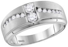 0.63 CTW Mens Natural Diamond Band Anniversary Ring 10K White Gold - REF-62W5H
