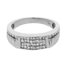 Genuine 0.53 CTW Diamond Gents  Ring in 14K White Gold - REF-60A5N