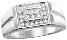 0.38 CTW Mens Natural Diamond Rectangle Cluster Ring 10K White Gold - REF-52T5K