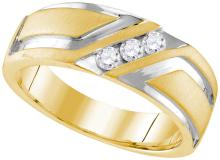 0.25 CTW Mens Natural Diamond Anniversary Band 10K Multi-Tone Gold - REF-60H2X