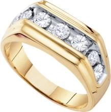 1 CTW Natural Diamond Channel-set Mens Anniversary Band 10K Yellow Gold - REF-66H3X