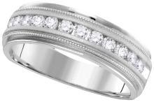 0.25 CTW Mens Natural Diamond Comfort-fit Anniversary Band 14K White Gold - REF-44T9K