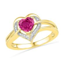 1.04 CTW Lab-Created Ruby Heart Love Ring 10K Yellow Gold - REF-19K4W