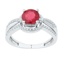 2.08 CTW Lab-Created Ruby Solitaire Ring 10K White Gold - REF-33M9A