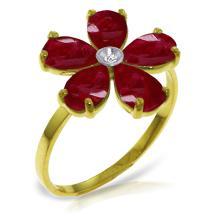 Genuine 2.22 ctw Ruby & Diamond Ring Jewelry 14KT Yellow Gold - REF-42F2Z