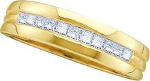 0.5 CTW Mens Princess Natural Diamond Band 14K Yellow Gold - REF-67A5N