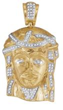 0.25 CTW High-Polish Mens Real Natural Diamond Jesus Christ Piece Large Charm Pendant 10K Yellow Gold - REF-67M5A