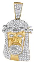0.75 CTW Mens Natural Diamond Jesus Christ Messiah Head Charm Pendant 10K Yellow Gold - REF-48M8A
