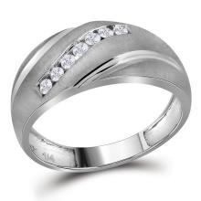 0.25 CTW Mens Masculine Channel-set Natural Diamond Brushed-satin Band 10K White Gold - REF-21N2Y