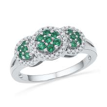 0.43 CTW Lab-Created Emerald Diamond Cluster Ring 10K White Gold - REF-27Y2V