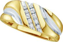 0.12 CTW Mens Natural Diamond Band 10K Yellow Gold - REF-18F8M