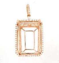 Genuine 0.3 CTW Diamond Semi Mount  Necklace in 14K Rose Gold - REF-56M8G