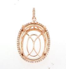 Genuine 0.31 CTW Diamond Semi Mount  Necklace in 14K Rose Gold - REF-63N7F