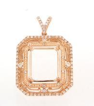 Genuine 0.38 CTW Diamond Semi Mount  Necklace in 14K Rose Gold - REF-64W5H