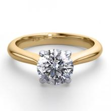 14K 2Tone Gold Jewelry 0.91 ctw Natural Diamond Solitaire Ring - WJ13202 - REF#243R2M