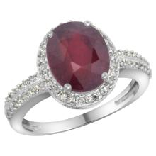 Natural 2.56 ctw Ruby & Diamond Engagement Ring 14K White Gold - SC-CW414138-REF#46W9K