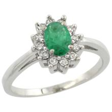 Natural 0.72 ctw Emerald & Diamond Engagement Ring 14K White Gold - SC-CW452103-REF#51N4G