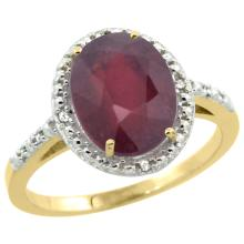 Natural 3.66 ctw Ruby & Diamond Engagement Ring 14K Yellow Gold - SC-CY414111-REF#39V7F