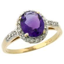 Natural 1.3 ctw Amethyst & Diamond Engagement Ring 14K Yellow Gold - SC-CY401137-REF#32M2H