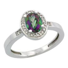 Natural 1.08 ctw Mystic-topaz & Diamond Engagement Ring 10K White Gold - SC-CW908150-REF#25X5A