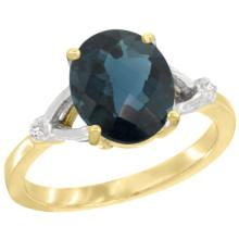 Natural 2.41 ctw London-blue-topaz & Diamond Engagement Ring 14K Yellow Gold - SC-CY405112-REF#34A7V