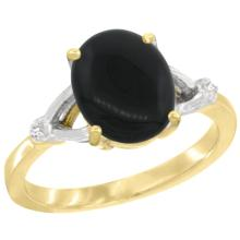 Natural 1.56 ctw Onyx & Diamond Engagement Ring 10K Yellow Gold - SC-CY917112-REF#22H3W