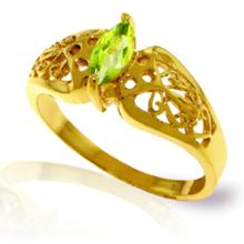 Genuine 0.20 CTW Peridot Ring Jewelry 14KT Yellow Gold - GG-4614-REF#47V2W