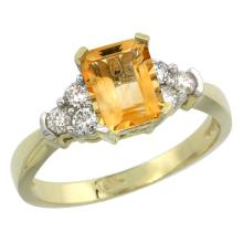 Natural 1.48 ctw citrine & Diamond Engagement Ring 10K Yellow Gold - SC-CY909169-REF#43R3Z