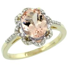 Natural 1.8 ctw Morganite & Diamond Engagement Ring 14K Yellow Gold - SC-CY413105-REF#47R7Z
