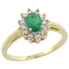 Natural 0.72 ctw Emerald & Diamond Engagement Ring 10K Yellow Gold - SC-CY915103-REF#40G5M