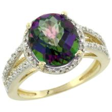 Natural 3.47 ctw Mystic-topaz & Diamond Engagement Ring 14K Yellow Gold - SC-CY408106-REF#46W3K