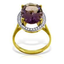 Genuine 5.28 ctw Amethyst & Diamond Ring Jewelry 14KT Yellow Gold - GG-4869-REF#83A3K