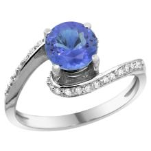 Natural 1.08 ctw tanzanite & Diamond Engagement Ring 10K White Gold - SC-10D312723W48-REF#50F3N