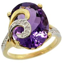 Natural 11.18 ctw amethyst & Diamond Engagement Ring 14K Yellow Gold - SC-R292651Y01-REF#82V2F