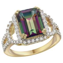 Natural 3.08 ctw mystic-topaz & Diamond Engagement Ring 14K Yellow Gold - SC-R292071Y08-REF#106N3G