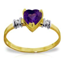 Genuine 0.98 ctw Amethyst & Diamond Ring Jewelry 14KT Yellow Gold - GG-1667-REF#31Z2N