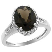 Natural 2.49 ctw Smoky-topaz & Diamond Engagement Ring 14K White Gold - SC-CW407109-REF#42K2R