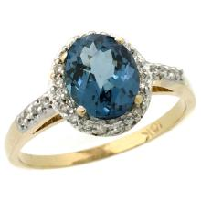 Natural 1.3 ctw London-blue-topaz & Diamond Engagement Ring 14K Yellow Gold - SC-CY405137-REF#32R4Z