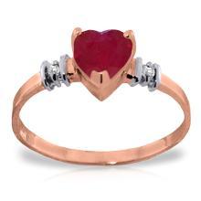 Genuine 1.03 ctw Ruby & Diamond Ring Jewelry 14KT Rose Gold - GG-4345-REF#34Z6N
