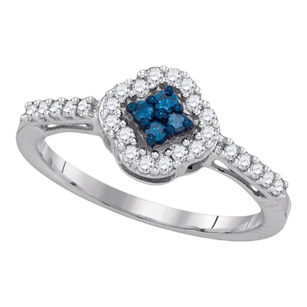 0.30 CTW Blue Color Diamond Diagonal Square Cluster Ring 10KT White Gold - REF-22Y4X