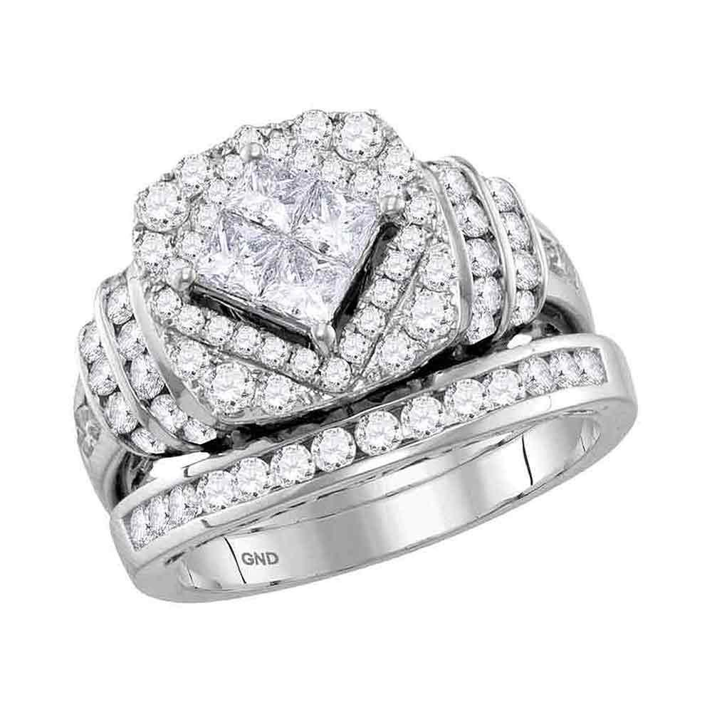 2.03 CTW Princess Diamond Bridal Engagement Ring 14KT White Gold - REF-194F9N