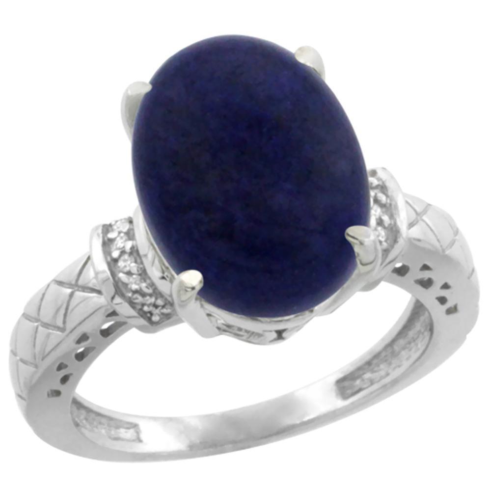 Natural 5.53 ctw Lapis & Diamond Engagement Ring 10K White Gold - REF-38M9H