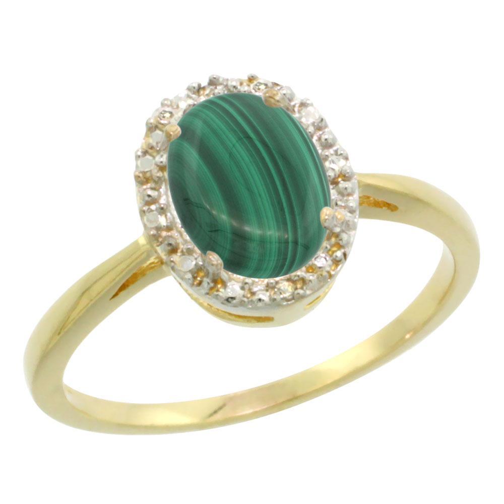 Natural 1.69 ctw Malachite & Diamond Engagement Ring 10K Yellow Gold - REF-19X3A