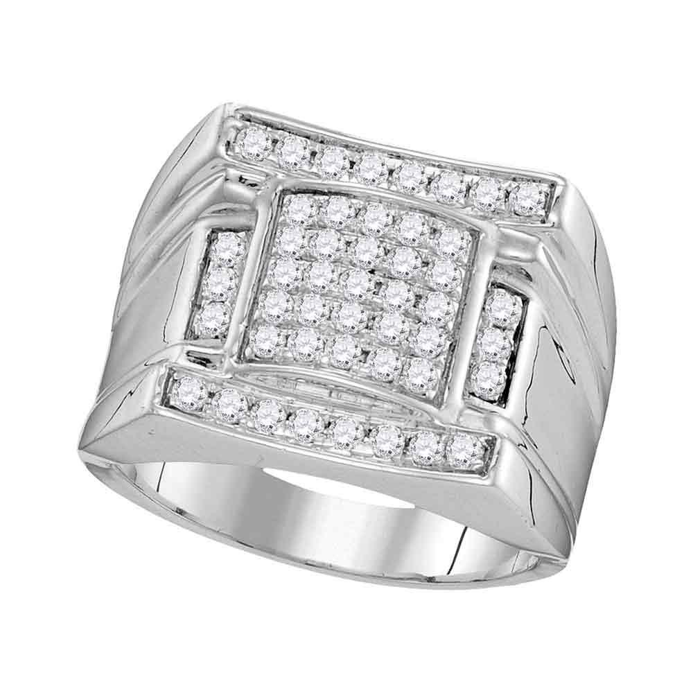 1 CTW Mens Diamond Arched Square Cluster Ring 10KT White Gold - REF-71X3Y