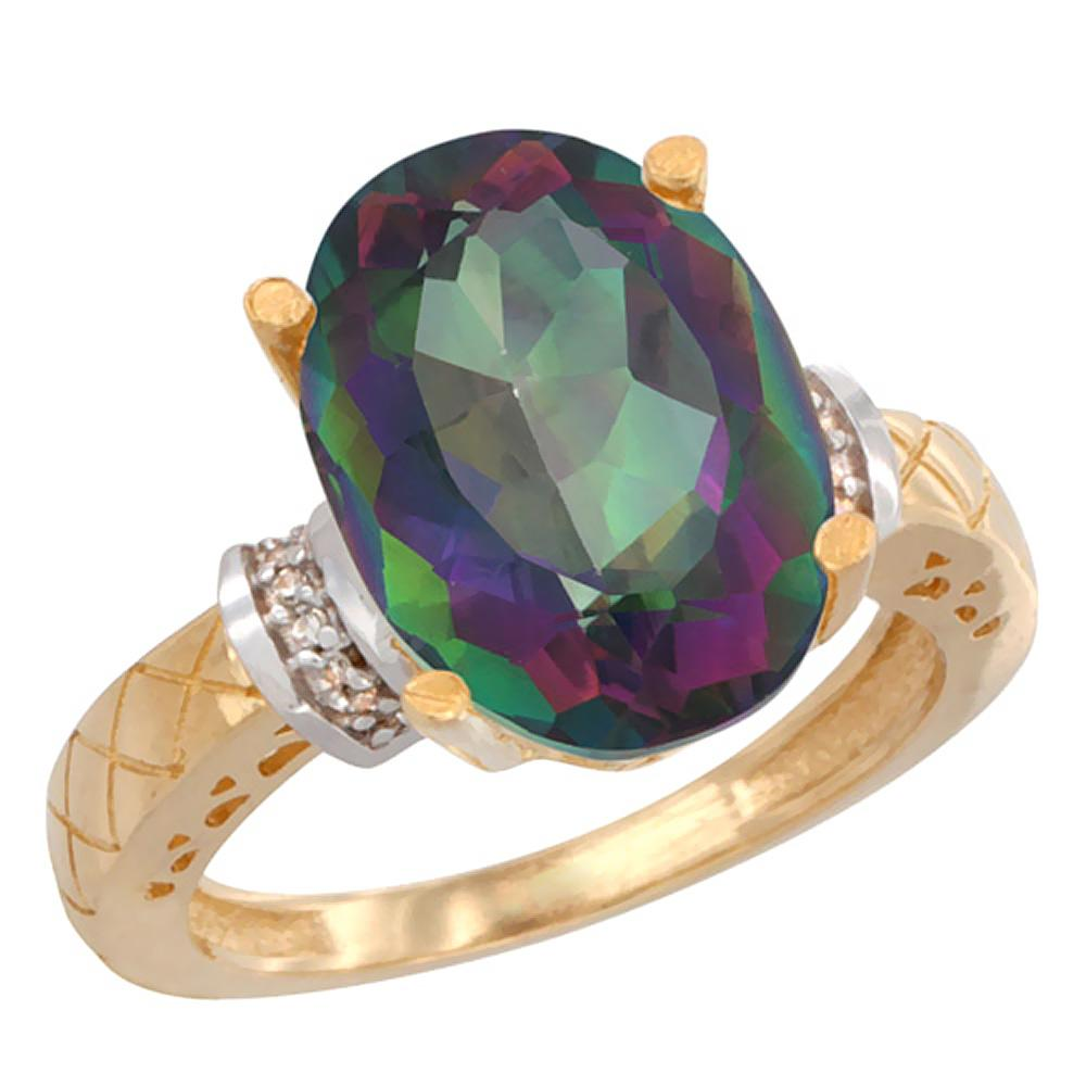 Natural 5.53 ctw Mystic-topaz & Diamond Engagement Ring 14K Yellow Gold - REF-60X3A