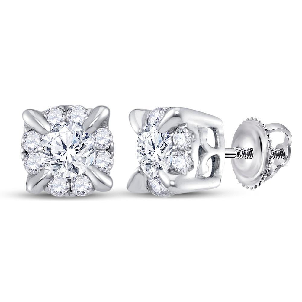 0.25 CTW Diamond Solitaire Screwback Stud Earrings 14KT White Gold - REF-30K2W