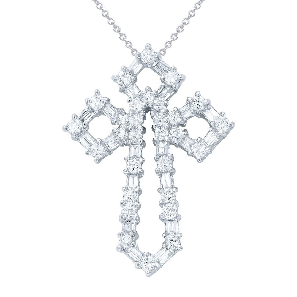 Natural 1.48 CTW Diamond Necklace 18K White Gold - REF-140F7N