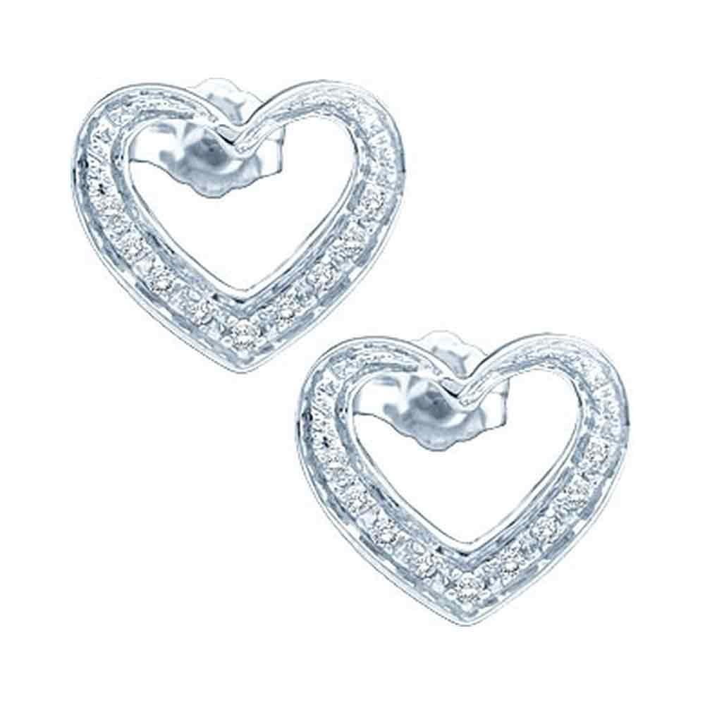 0.12 CTW Diamond Heart Screwback Earrings 10KT White Gold - REF-14F9N