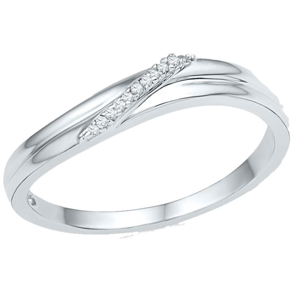 0.03 CTW Diamond Simple Single Row Ring 10KT White Gold - REF-10M5H